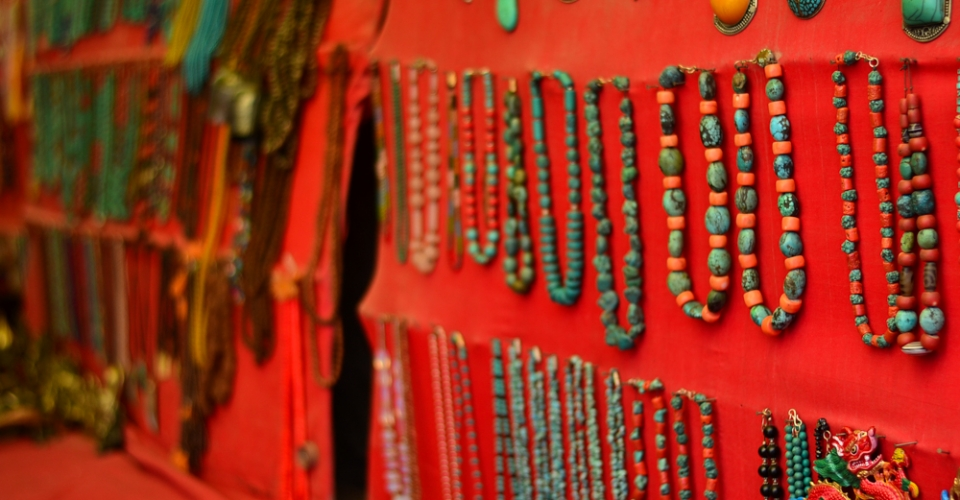 Necklaces of stone in the Leh market