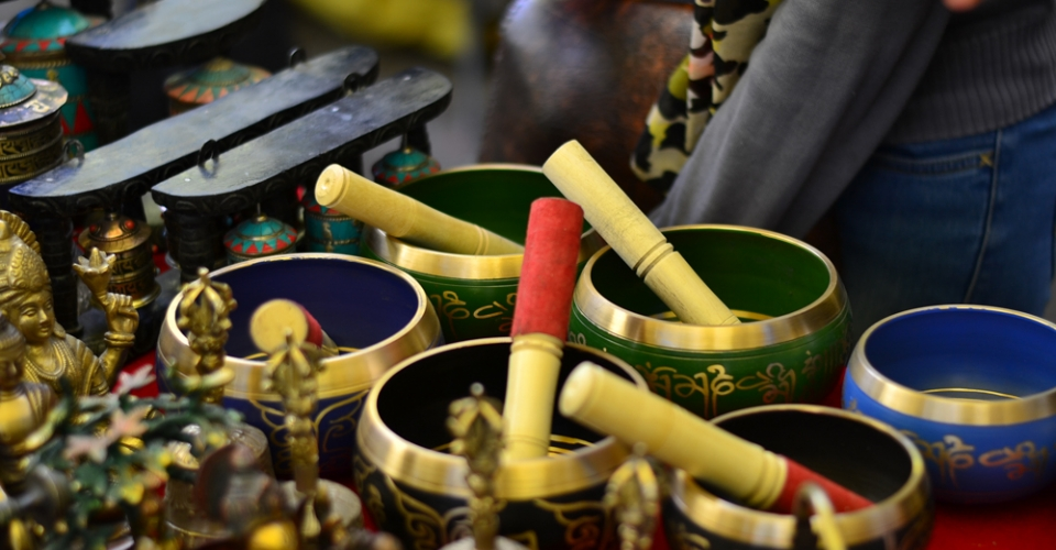 Prayer bowls in the Leh market