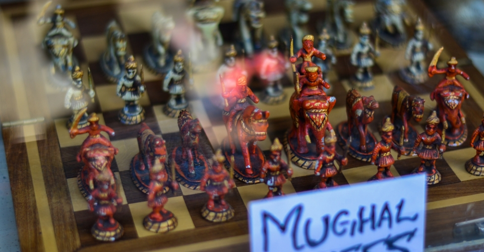 Exotic chess boards in the Leh market