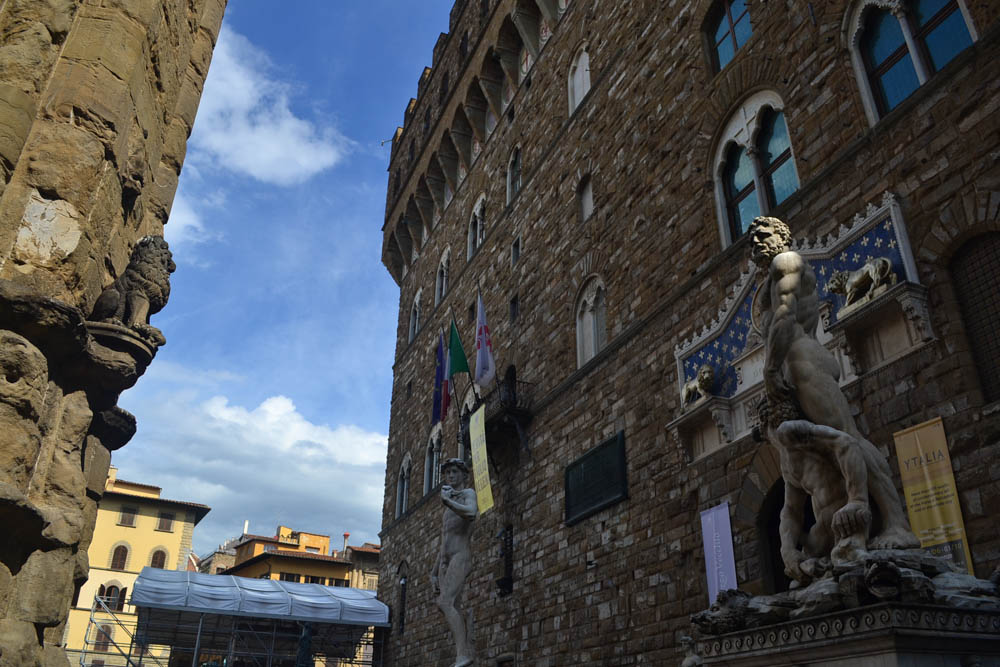 Other replica of David outside the Palazzo Vecchio, Florence