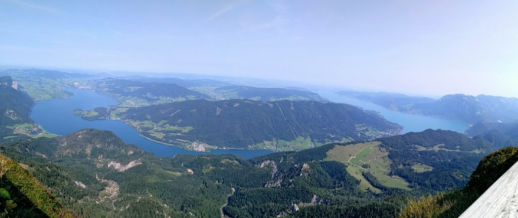 Panorama from Schafberg overlooking the Mondsee and Attersee
