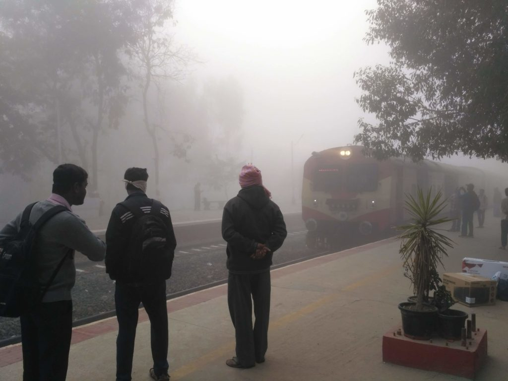 A foggy winter morning at Carmelaram railway station.